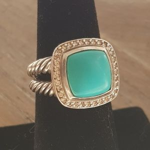 David Yurman Albion 11mm Turquoise Diamond Ring